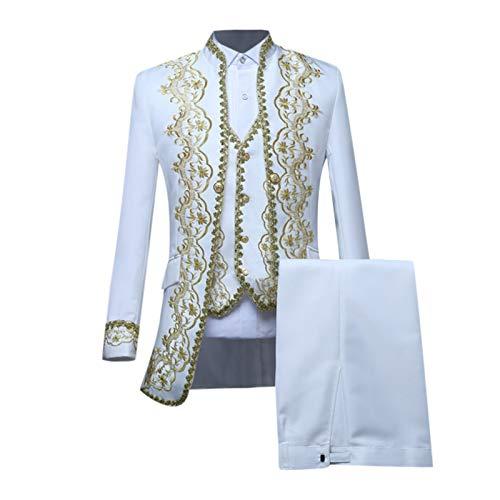 DAY8 Herren Steampunk Mantel + Hose + Weste, Gothic Gehrock Mantel Mittelalter Jacke Smoking Viktorianisch Renaissance Mantel Kostüm Mittelalter Kleidung Urban Streetwear