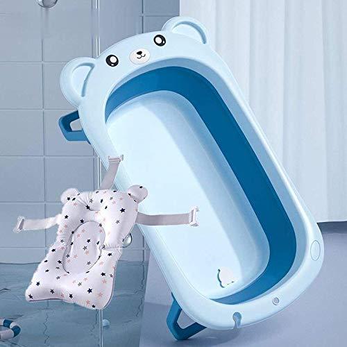 Gran Dibujos Animados Recién Nacido Plegable Bañera Bebé Niños Baño Cubo De Baño Puede sentarse Y Mentir Productos Generales Bebé (Azul+Flotante)