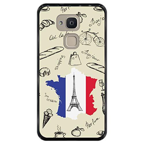 Telefoonhoesje voor [ Bq Aquaris V Plus - VS Plus ] tekening [ Eiffeltoren, kaart en de vlag van Frankrijk ] Zwart TPU flexibele siliconen schaal