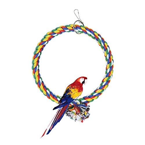Andiker - Columpio para Pájaros, Juguetes para Colgar de Jaula, Columpio de Cuerda de Algodón, Resistencia a Las Mordeduras, Perchas de Juguete en Forma de Loro (18cm)