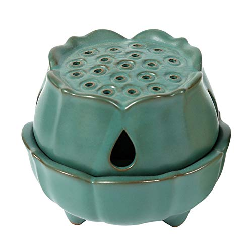 NAGU Incense Burner Holder, Handmade Ceramic Lotus Stick/Cone/Coil Incense Bowl with Lid, Small Round Incense Ash Tray (Green)
