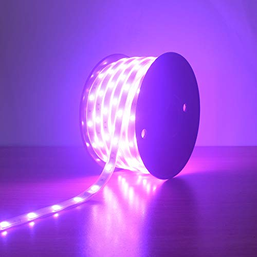200Ft (2x100Ft) Long Run Waterproof IP67 24V RGB LED Strip Rope Light Music Sound SYNC Controller for Home Theater Backlight Crown Molding Accent Outdoor Roof Decks Railings Colors Lighting Decoration 9