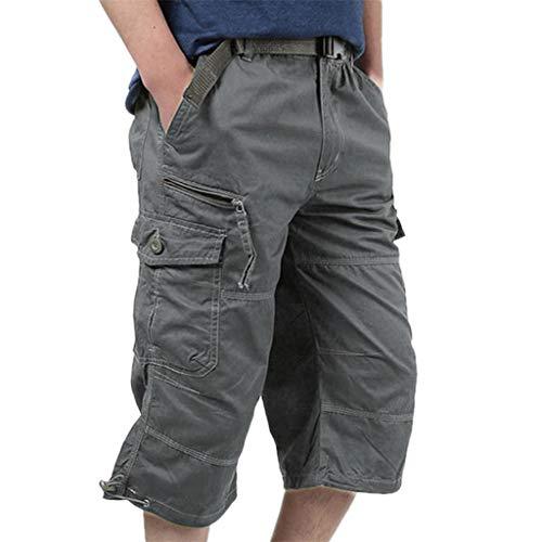 EUCoo Pantalons Amples en Vrac pour Hommes d'été Pantalons Courts Extensibles en Vrac(Gris,L)
