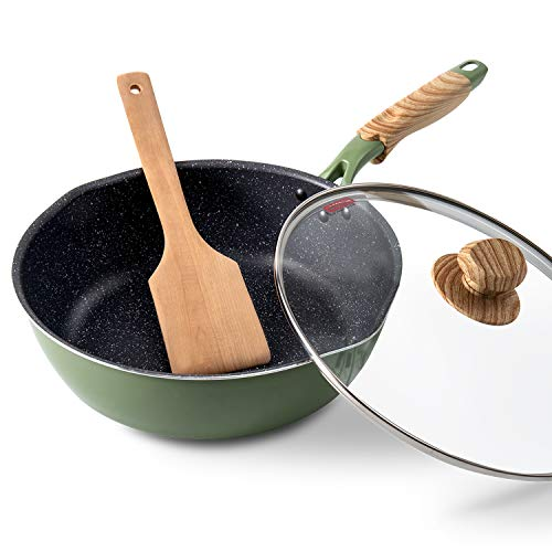 Frying Pan, ROCKURWOK Nonstick Deep Saute Pan Omelette Skillet with Glass Lid, 10 inch, Green