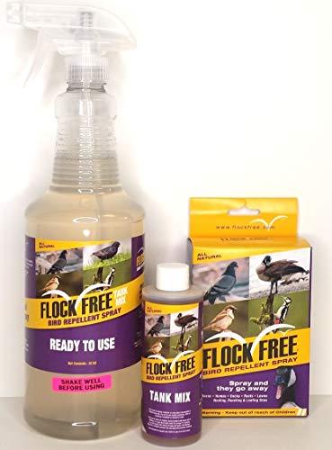 Flock Free Bird Repellent Ready Spray Bundle, Ready to Use Bird Spray 32oz + Concentrate 4oz for Refill
