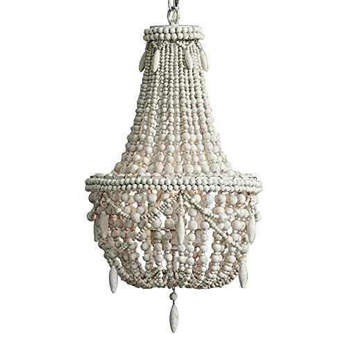 JINKEBIN Araña de Phube iluminación retro candelabros de madera charla araña lámpara de niño habitación dormitorio princesa habitación araña casa iluminación (Lampshade Color : White Wood Beads)