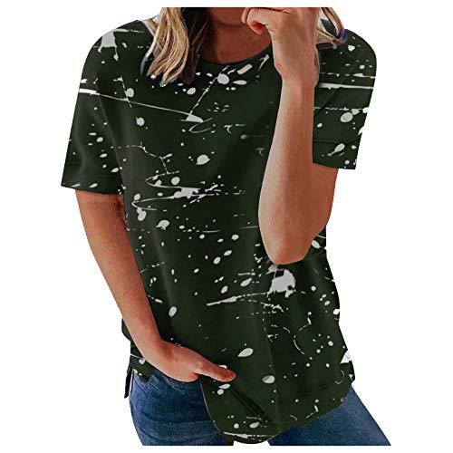 T-Shirt Damen Kurzarm Sommer Oberteile Mode Schön Ölspritz-Tintenmuster Drucken Kurzarm T-Shirts Lässig Gemütlich Lose V-Ausschnitt Basic Shirt T-Shirts Hemd Bluse Tunika