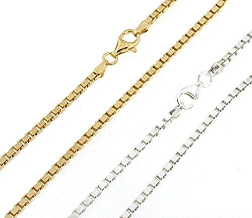 Pulsera Cadena Veneciano plata de ley chapado en oro 2,5 mm, longitud 25 cm Joyería desde la fábrica italiana tendenze regalo para mujer y hombre