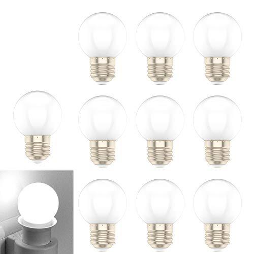 E27 1W Weiß LED Glühbirne, Geeignet für Hauptbeleuchtung, Party Dekoration, 10er-Pack