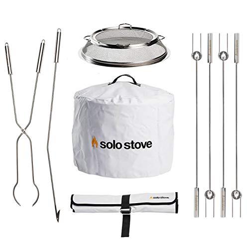 Solo Stove Bonfire Accessory Bundle Includes Bonfire Shield, Bonfire Shelter, Fire Pit Roasting Sticks and Fire Pit Tools Great Fire Pit Accessory Bundle