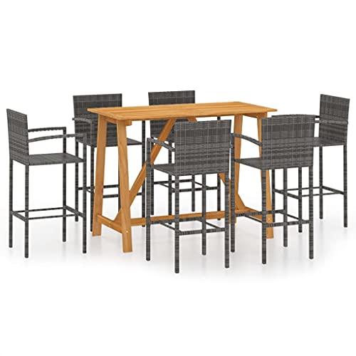 Juego de Muebles de jardín, Juego de Comedor al Aire Libre, Juego de Mesa y sillas para Patio, Juego de Barra de jardín de 7 Piezas, Gris