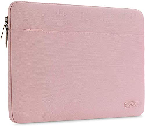 MOSISO Laptop Sleeve Bag Compatible with MacBook Air 13 inch M1 A2337 A2179 A1932, M1 13 inch MacBook Pro 2016-2021, Spill Resistant Polyester Horizontal Carrying Case Cover, Pink