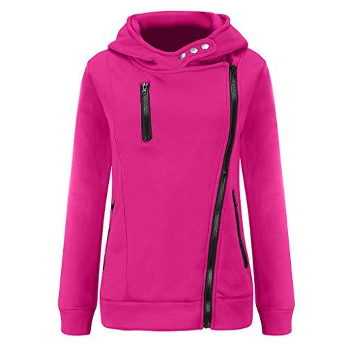 BOLANQ Jacke Damen Sweatjacke Hoodie Sweatshirt Oberteile Damen Pullover Kapuzenpullover Pulli mit Reissverschluss(Large,B-Pink)