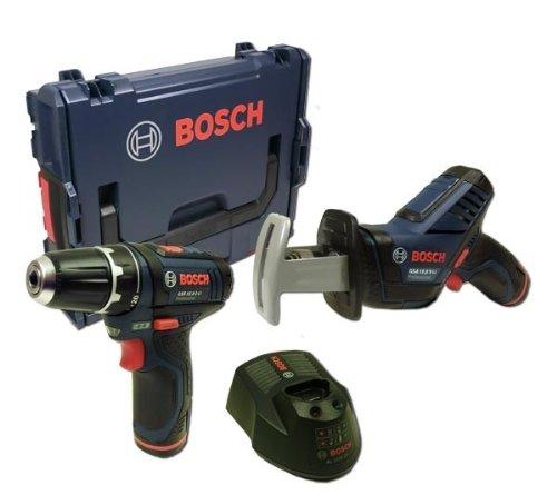 Bosch GSA Akku-Säbelsäge 10,8 V-LI - Bosch GSR 10,8-2-LI Akkuschrauber - 2 x Akku 2,0 Ah - L-Boxx
