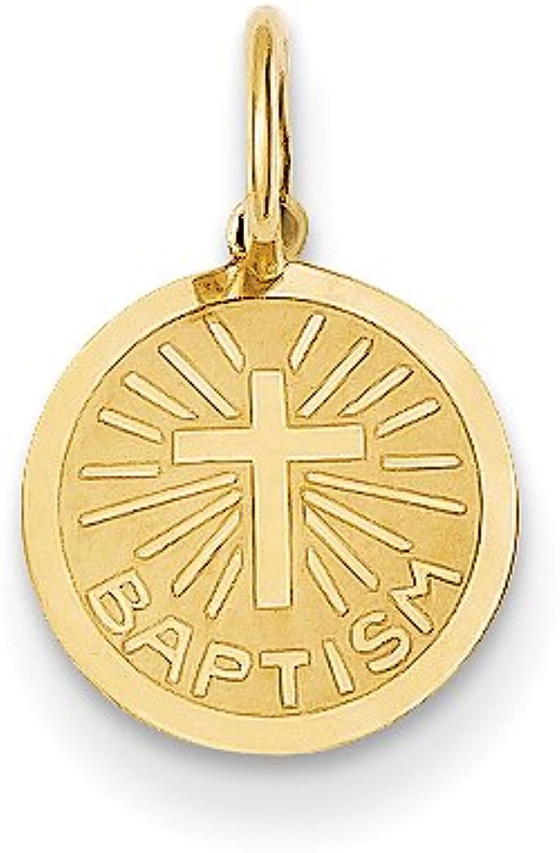 Diamond2Deal 14k Yellow gold Small Baptism Pendant