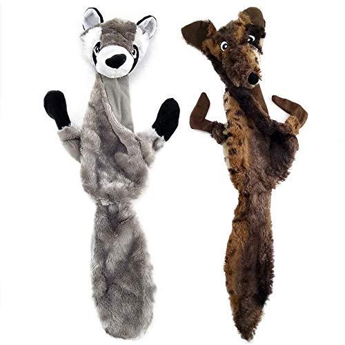 onebarleycorn – Hundespielzeug Plüsch Hunde Quietschspielzeug 2 Stück,Pluesch Hundespielzeug Unzerstörbar Plusch Quietsch Welpen Spielzeug Stofftier für Kleine Medium Große Hund(Wolf Waschbär)