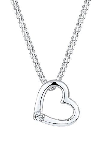 Elli Damen Schmuck Halskette Kette mit Anhänger Herz Ewige Liebe Freundschaft Liebesbeweis Silber 925 Swarovski® Kristalle Weiß Länge 45 cm