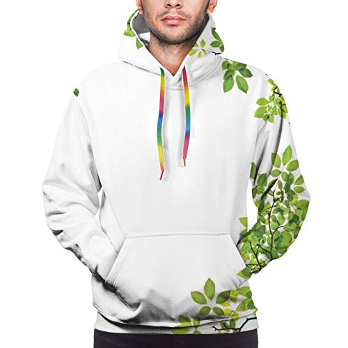 TENJONE Men's Hoodies Sweatshirts,Broad Leaves Close-Up Background Garden Organic Foliage Shrubs Cells Plant Image,X-Large
