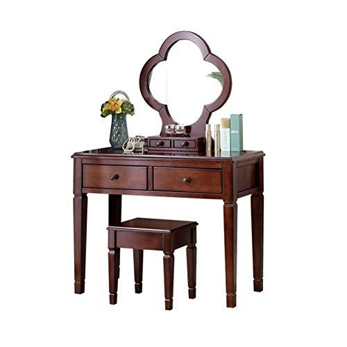 ZXNRTU Robusto y Duradero Mesa de Maquillaje de Madera Maciza, tocador con Espejo Ovalado y Taburete amortiguado, Elegante recepción y Organizador, Ideal para baño de Dormitorio