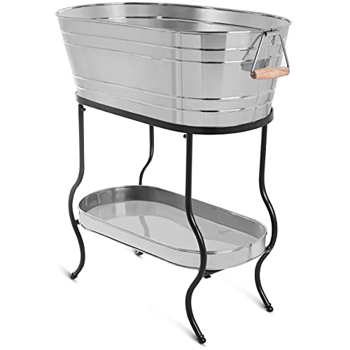 BIRDROCK HOME Stainless Steel Beverage Tub with Stand - Bottom Tray - Ice Bucket - Party Drink Holder - Wooden Handles - Outdoor or Indoor Use - Free Standing