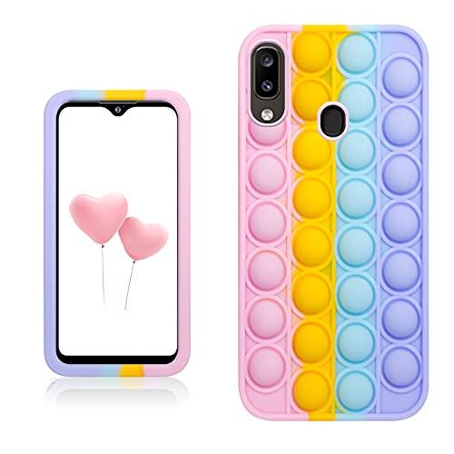 Qerrassa Color Bubble Silikon Hülle für Samsung Galaxy A20E,Fälle Spaß Entwerfen Handyhülle Fidget für Kinder Mädchen Jungs Schutz Ultra Dünne Süß Komisch Mode Fälle für Samsung Galaxy A20E