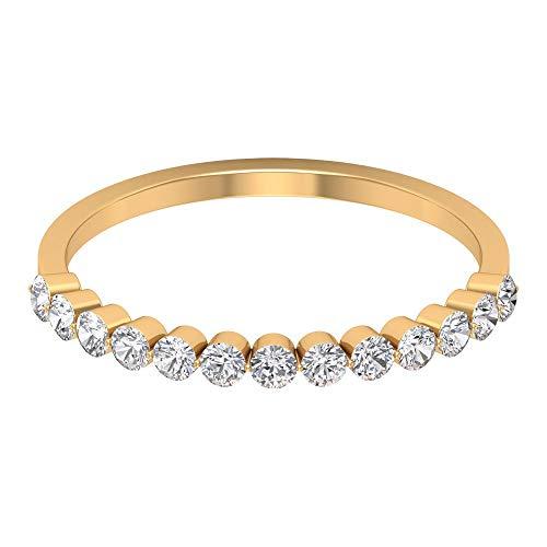 Anillo de eternidad flotante, anillo de diamante redondo de 0,39 quilates, anillo de boda delicado, anillo de media eternidad, anillo de dama de honor apilable, 18K Oro amarillo, Size:EU 70