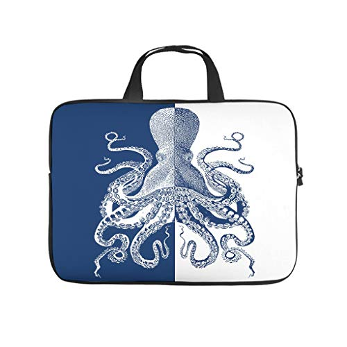 Laptop Bag Blue Octopus Wear-Resistant Fashionable Briefcase Compatible with 13-15.6 Inch Pro