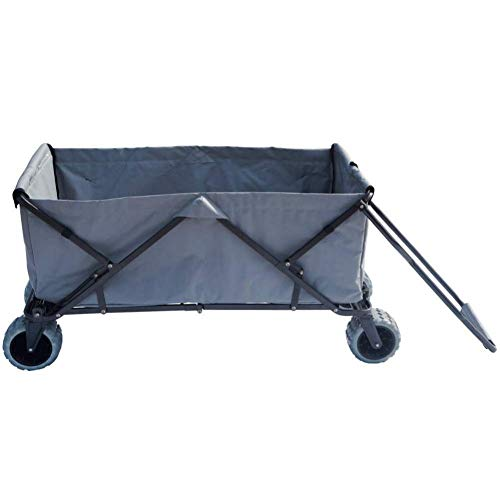 Impact Canopy Folding Collapsible Utility Wagon, Extra-Large Wagon with All-Terrain Wheels, Grey