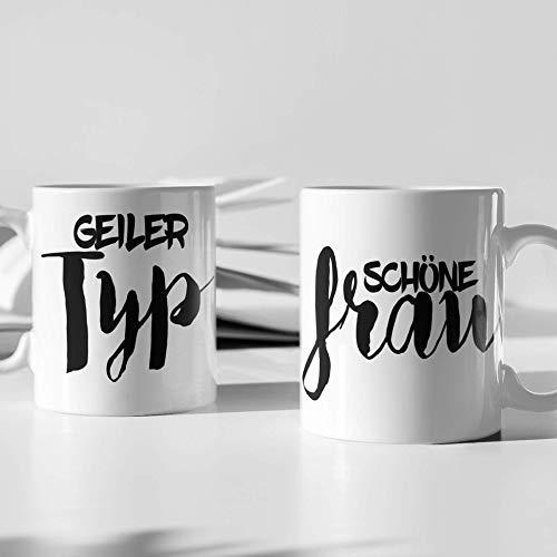2er Set geschenkset 2 Tassen Geiler Typ schöne Frau Beziehung Partner Geschenk Kaffee Tee Tasse Design Ehe Liebe