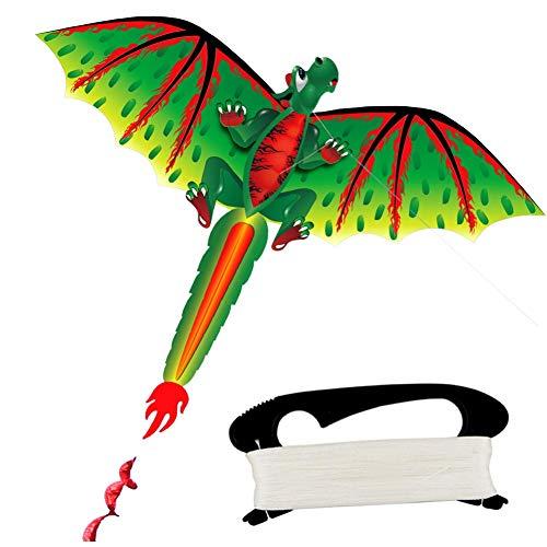 jiashemeng Cometa para Niños Adultos, Niños Lindo Dinosaurio 3D Juego De Vuelo De Cometas Deporte Al Aire Libre Jugar Juguete con Línea De 100 M Multicolor