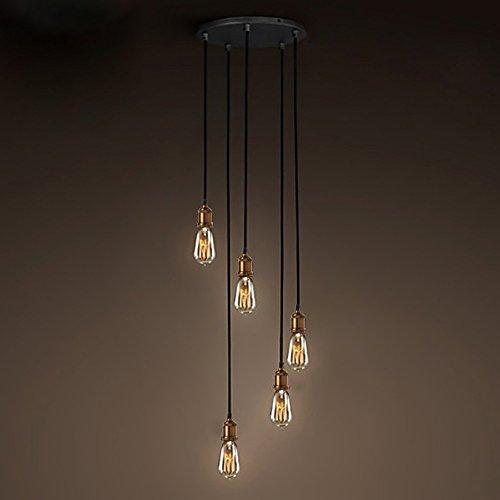 NIUYAO Illuminazione a Soffitto Scala Plafoniere Lampada Metallo Retro Industriale con 5 Luce-Ottone