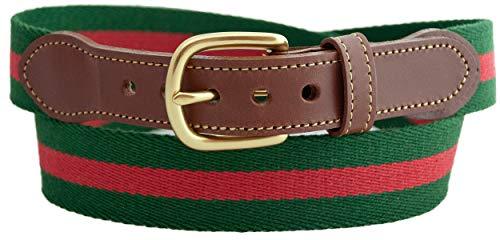Leather Man Ltd Surcingle Belt Hunter with Red Stripe Belt (48 (fits size 46 pant))