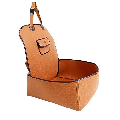 SASAU Dog Car Seat Cushion Nylon Viaggio Impermeabile 2 in 1 Vettore per Cani Pieghevole Piegatura Pet Cat Dog Car Booster Seat Cover Outdoor Pet Bag Hammock (Color : A-Brown)