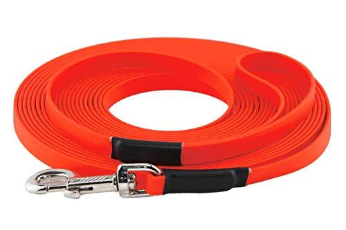 LENNIE BioThane Schleppleine, 10m mit Handschlaufe, Neon-Orange, 16mm für große Hunde, genäht