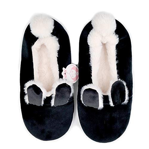Millffy New Softest and Best Made Memory Foam Women's Ballerina Faux Fur Cuffed Slipper Socks (US 9-10, Black)