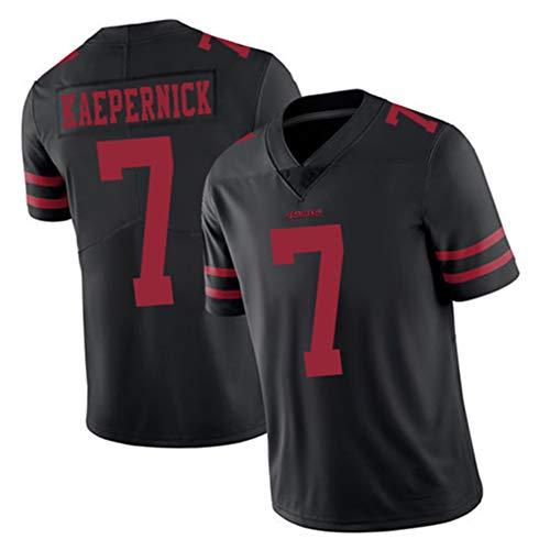 Colin Kaepernick Rugby Trikot Herren-San Francisco 49ers 7#, American Football Fans Sport T-Shirt, atmungsaktiver Schweiß und schnelltrocknendes S-3XL-black-L(183~188)