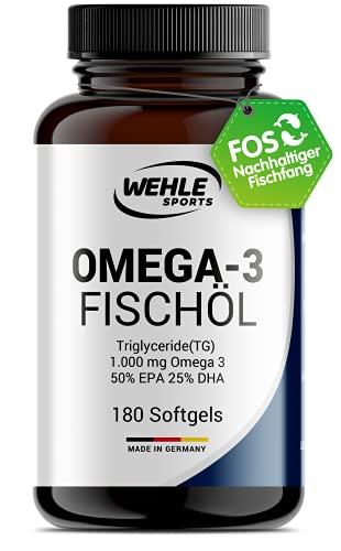 Omega 3 Kapseln hochdosiert Triglyceride Fischöl - Fish Oil Softgel 500mg EPA 250mg DHA ohne Vitamin E Omega-3 Fettsäuren - Aufwendig gereinigt und aus nachhaltigem Fischfang (180 Kapseln)