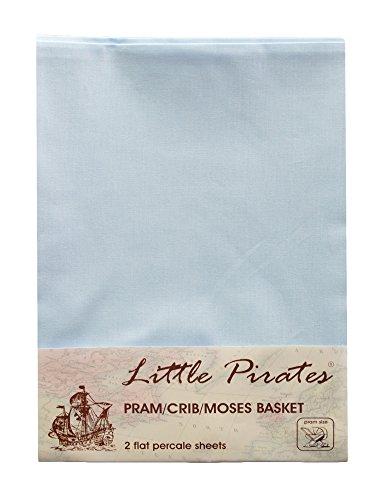 Little Pirates 2 Pack Baby Pram/Stroller/Bassinet/Cradle/ Moses Basket Blue Flat Sheet, 100% Luxury Brushed Cotton …