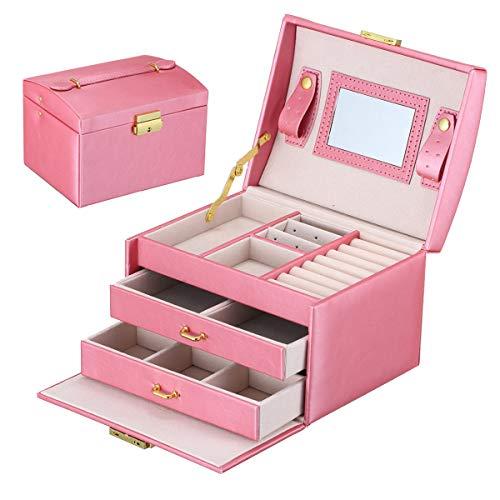 CREATOR - Caja organizadora de joyas para mujer, con cerradura para niñas, estuche de almacenamiento para pendientes, anillo, collar, pulsera, color rosa