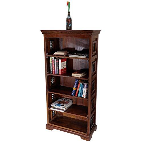 Fab Furnish Jali Bücherregal, handgefertigt, aus massivem Holz, 4 Etagen, stehend, großes Regal für Wohnzimmer, DVD-Blu-Ray-Medien, in zwei Größen, 5 Tier Book Shelves