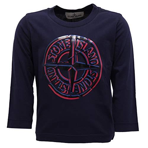 Stone Island 7245Y Maglia Bimbo Boy Junior Blue Cotton Printed t-Shirt [2 Years]