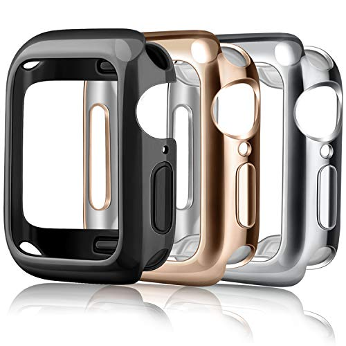 Amzpas 3 Pezzi Cover per Apple Watch Custodia Series 3/ Series 2 38mm, Protezione Completa a 360° Custodia Rigida PC per Apple Watch Series 2/ Series 3 (38mm, Argento/Nero/Oro Rosa)