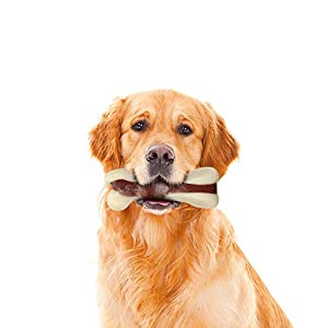 Tikaton Indestructible Dog Chew Toys for Aggressive Chewers, Real Beef Flavor Durable Dog Teething Chew Toys Bones for Large/Medium/Small Puppies