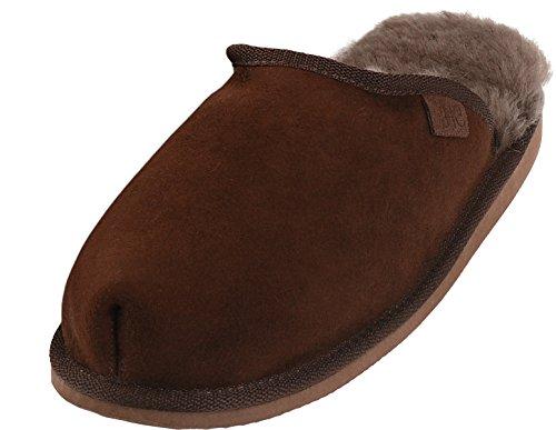 Extra Dicke Lammfell Pantoffeln für Herren, Farben:braun, Schuhgröße:46