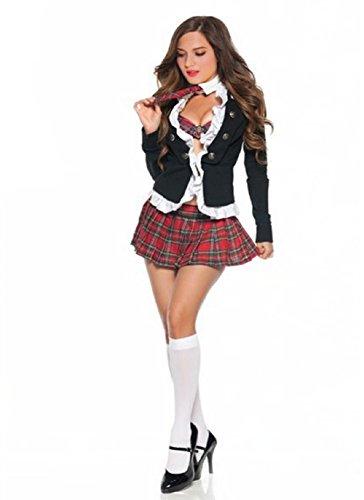 JJ-GOGO Adult Naughty School Girl Costume Sexy 4 Piece Student Uniform Set (L)