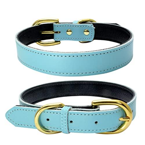 teemerryca Collares de piel para gatos, cachorros, pequeños, medianos y grandes, para mascotas, collares clásicos (medianos, azul)