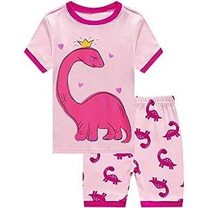 Little Girls Summer Pajamas Toddler Shorts Sets Unicorn Sleepwear for Kids Cotton Dinosaur Pjs 2 Piece Clothes 2-7 Years