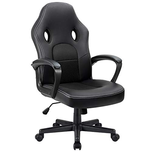 Furmax Office Chair Leather Desk Gaming Chair, High Back Ergonomic Adjustable Racing Chair,Task Swivel Executive Computer Chair Headrest and Lumbar Support (Black)
