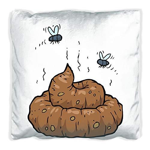 Wallario Premium Kissen, weiche Oberfläche, mit Motiv Comic Scheißhaufen mit Fliegen, Größe: 60 x 60 cm