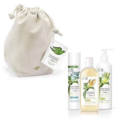 Dove Powered by Plants Geschenkset Duftmix für ein erfrischendes Hautpflegeerlebnis mit Duschgel, Deodorant und Body Lotion im Cotton Bag (250 ml + 75 ml + 250 ml)